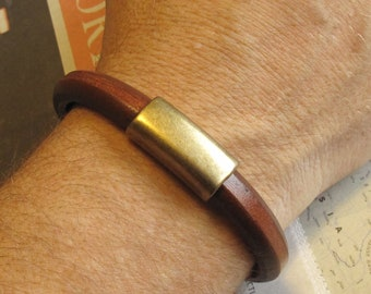 Dude Leather Bracelet for Men Thick Brown w Brass Accents