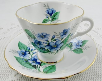 Windsor Square Tea Cup and Saucer with Blue Flowers, Vintage English Bone China