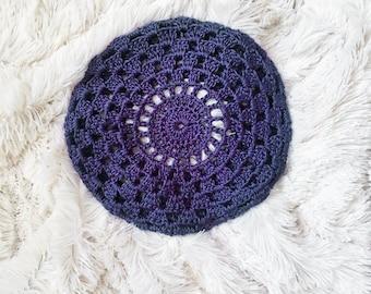 Crochet Sunburst Beret in Purple Grape