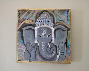 Original Ganesha Painting   Ganesh Painting   Spiritual Painting   Ganesh Canvas Art   Positive Vibes Art   Ganesha Art