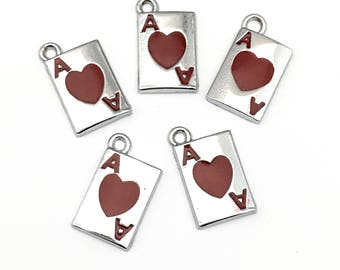 5 ace of heart card charms enamel & silver tone, 11mm x 18mm # CH 579