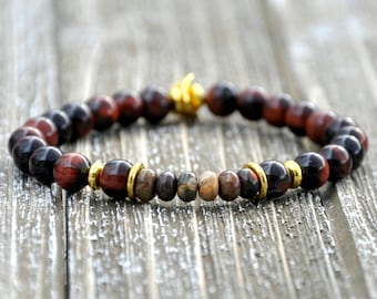 Men's Reddish Brown Tiger Eye Beaded Bracelet