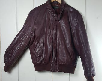 Four Winds Crimson Red Leather Bomber Jacket Hoodie Size Large
