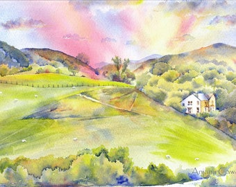 Original Watercolour landscape, North of Wales, Welsh landscape, View from Conwy castle, Green Valley, Watercolour Art, Watercolor painting
