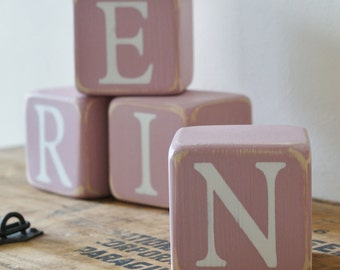 4 Personalised wooden NAME blocks SET OF 4 other amounts available Choice of children's name or message