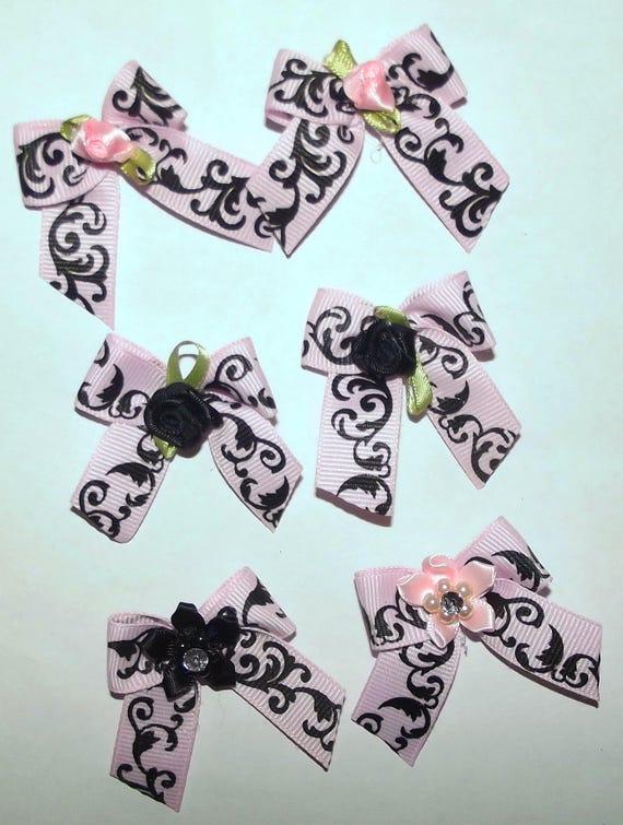 Puppy Bows ~6 black pink leaf scrollwork EVERYDAY BOWS Yorkie Maltese Shih Tzu ~Usa seller (fb81)