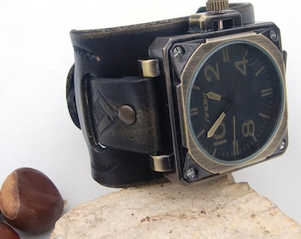 Leather watch, Mens leather cuff watch, Military Army Sport Leather Quartz leather Wrist Watch