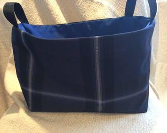 Blue Plaid Fabric Bag