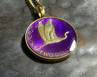 New Zealand - Egret Coin Pendant - Hand Painted