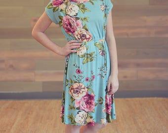 Floral Mint Girl's Dress - Girl's Dress, Floral Dress, Mint Dress, Spring Dress