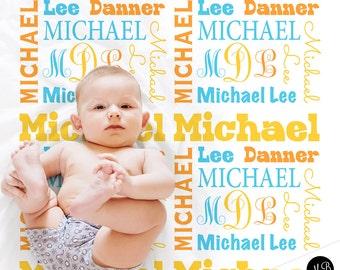 Baby boy monogram baby blanket, receiving blanket, swaddle blanket ,momogram shower gift, boy gift, green, orange, baby blanket 1001
