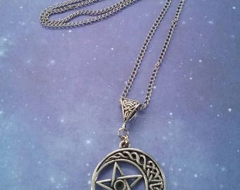 Celestial Crescent Moon and Pentagram Pendant Necklace
