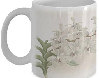 Coffee mugs w/ orchids flowers: botanical prints - Vanda ccerulea