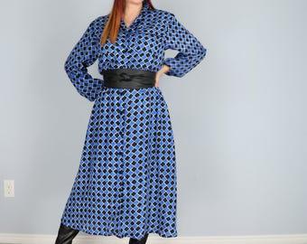 1980s Dress - Midi Shirt Dress - Blue Black Check Print - Full Flare Skirt - Long Sleeve - Feminine Modest Day Dress - Pockets - Small