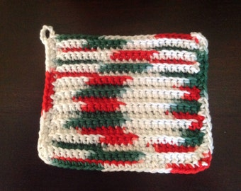 100% Cotton Dishcloth/Washcloth Handmade Red, Green and White
