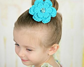 CLEARANCE Turquoise Blue Hair Clip Turquoise Hair Clip Crochet Flower Hair Clip Turquoise Barrette Blue Barrette Flower Barrette Spring