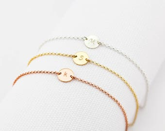 Single Initial bracelet, Gold Filled, Rose Gold Filled, Silver, Personalized Bracelet, Initial Disc, Mother's Bracelet, Valentines Day