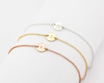 Single Initial bracelet, Gold Filled, Rose Gold Filled, Silver, Personalized Bracelet, Initial Disc, Mother's Bracelet, Valentines Day