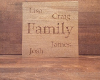Personalised Square Family Name Plaque personalised