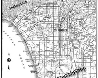 Los Angeles Map - Street Map Vintage