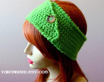 CROCHET PATTERN PDF - Instant Digital Download - Mean Green Button Headband / Earwarmer pattern - women - teen - fall - winter