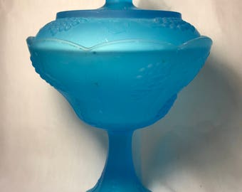 Vintage Indiana Glass Tall Candy Dish with Lid