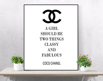 Coco Chanel Quote Printable Poster Black and White College Girl Gift Digital Download Instant Art