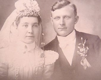 Vintage Photograph, Married Couple, Matted Photo, c1903, Victorian Wedding, Victorian Couple, Vintage Photos, Black and White Photo, CN3