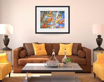 modern wall art | Fish Art | koi art | koi painting | Watercolor Painting | orange blue yellow | art PRINTS | contemporary art