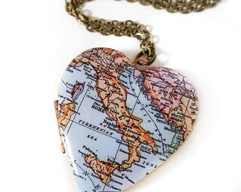 Italy Map Necklace, Large Vintage Heart Locket,  Antique Map Jewelry, Rome, Naples, Sicily, Venice, Travel Jewelry, Paper Anniversary