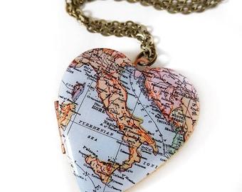Große Vintage Herz Medaillon, antike Karte Schmuck, Rom, Neapel, Sizilien, Italien Karte Halskette, Venedig, Reisen Schmuck, Papier-Jubiläum