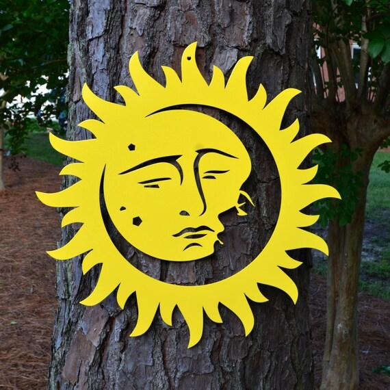 Sun and Moon Powder Coated Metal Wall Art