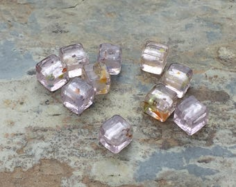 Pale Pink Cube Beads, Small Glass Cube Beads, 6mm, 10 beads per package