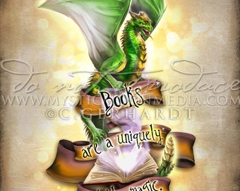 Dragon /  Books are Portable Magic Print / Potter Gift Art / Nargles /Nerd Gifts / Nerdy / Wizard / Witch / Magic / Magical / Wizardry