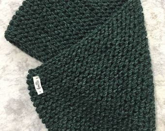 Hand Knit Green Cowl