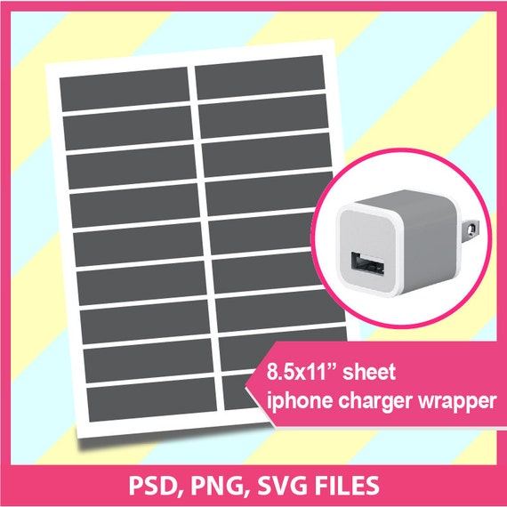 iPhone Charger Wrap Template Microsoft word doc PSD PNG and