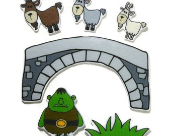 3 Billy Goats Gruff, Fingerplay, Nursery Rhyme, Busy Book, Felt Board, Flannel Board, Quiet Book, Felt set, Homeschool, Felt Story