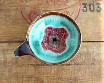Small German Art Pottery Dish, Decorative Ceramic Drip Glaze Dish with Handle, German 206-14 Glazed Dish