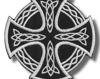 Celtic cross - embroidered patch, 8x8 cm