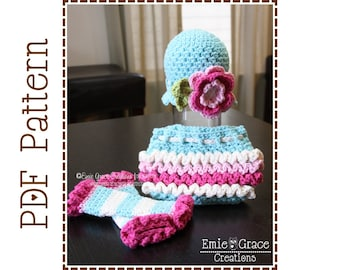 Headband Hat, Diaper Cover and Leg Warmers Crochet Patterns, KENNEDY - pdf 220, 710, 707