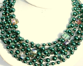 Emerald green statement necklace,pearl, crystal,  multistrand, beaded, handmade, gift