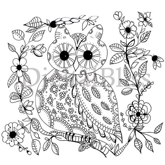 Adult Coloring Download Whimsical Owl Page Spring To Color Line Drawing Scrapbooking