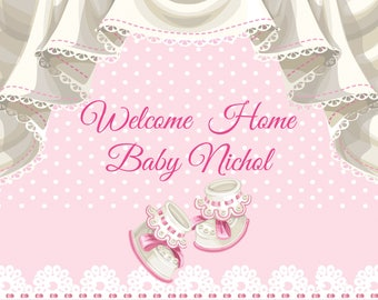 Large Welcome Home Baby Banner, Baby shower banner, baby girl, Baby boy, baby shower, baby shower decorations, new baby gift ;10000370