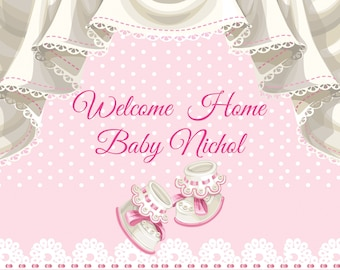 Bon Large Welcome Home Baby Banner, Baby Shower Banner, Baby Girl, Baby Boy,