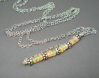 Opal Necklace, Ethiopian Fire Opal Rondelles, Small Opal Beads and Long Silver Plate Chain