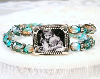 Turquoise Czech Beads Photo Jewelry Photo Gift for Wife Grandmom Gift Picture Frame Bracelet Child Photo Jewelry Memory Keepsake Aunt Gift