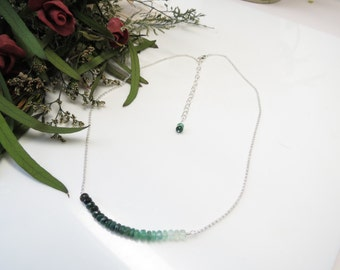 Emerald Necklace, May Birthstone, Ombre Emerald Necklace In Sterling Silver, 16.5-18.5 Inches Length, Ombre Sapphire Jewelry, Green Gemstone
