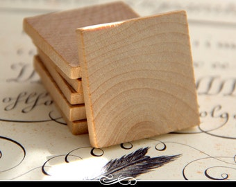 1.5 Inch Square Wood Tiles for Pendants and Magnets and More. 3/16 Inch Thick. 25 pack