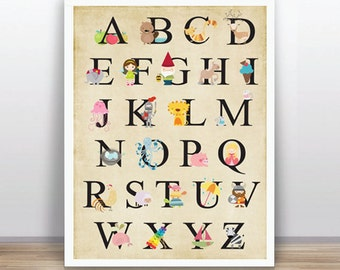 Animal Alphabet (ABC) Instant Download - Digital Animal Alphabet (ABC) 11X14 inches (A3 size)  Printable