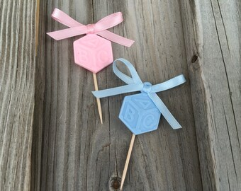 Set of 12 - Pink or Blue Baby Block Baby Shower Party Food Picks - Boy/Girl/Gender Reveal/Twins - Decorations/Favors  - Baby Shower